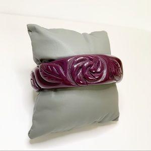 Vintage Carved Lucite Slip On Bangle Floral
